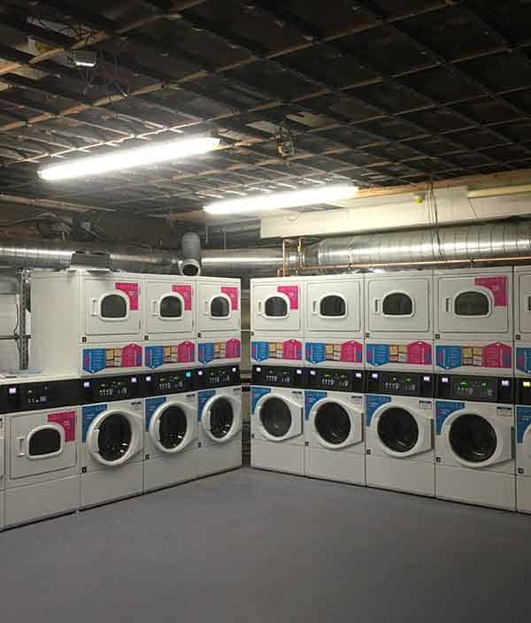 commercial laundry equipment installed in a large hotel