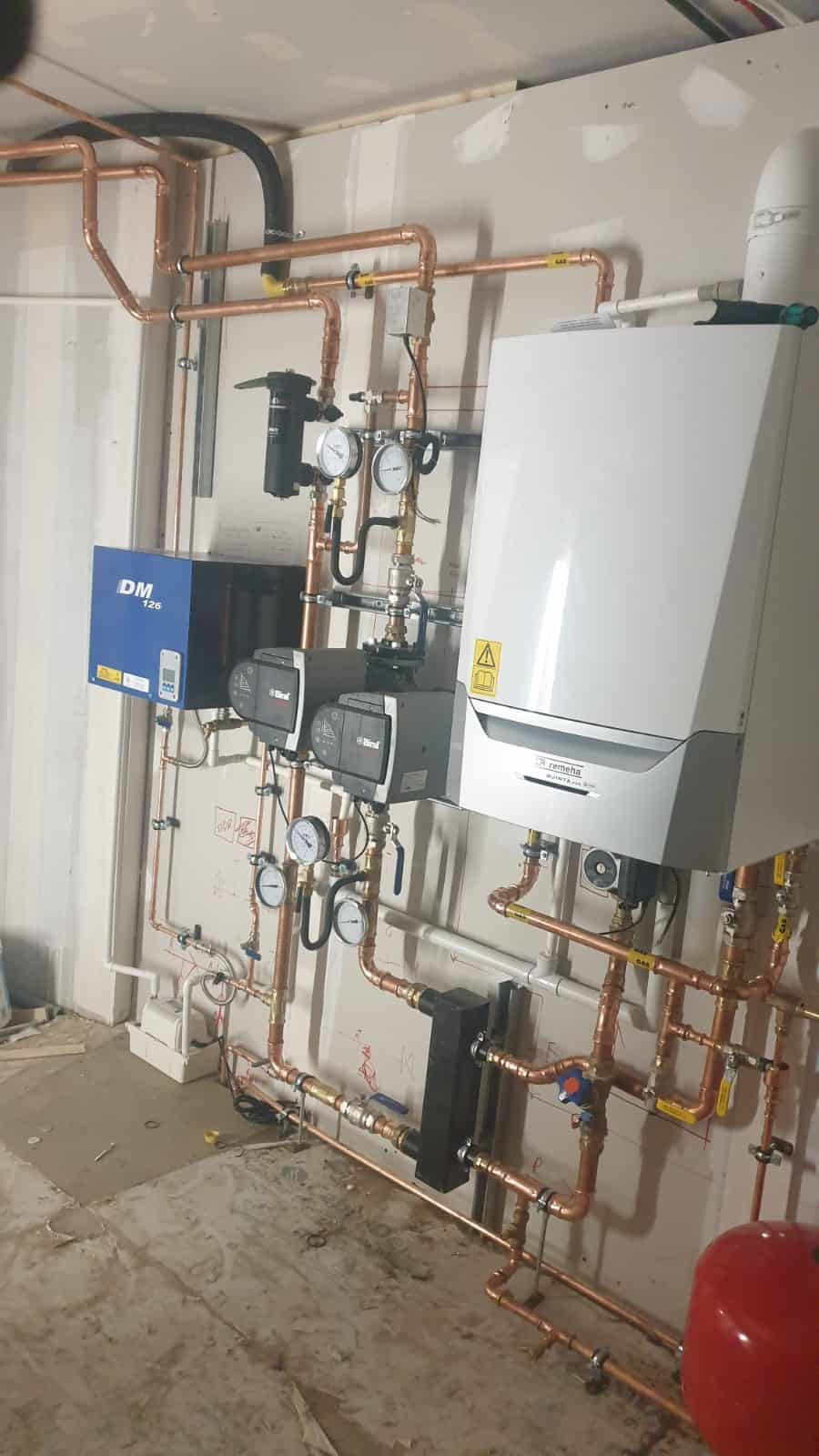 Commercial boiler and pipework installation at sheltered housing complex