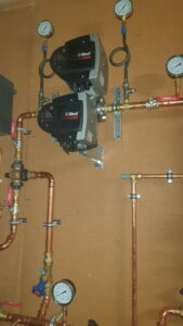 commercial boiler installation with 2 Biral water pumps